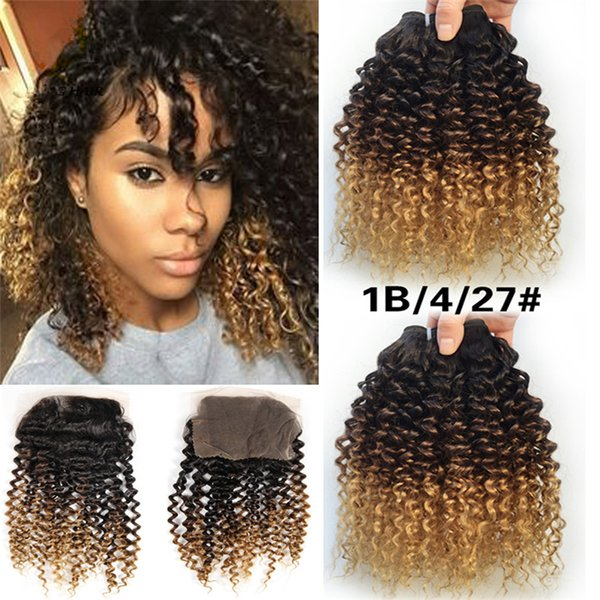 8a Grade Ombre 1b 4 27 Kinky Curly With Lace Closure Mongolian Human