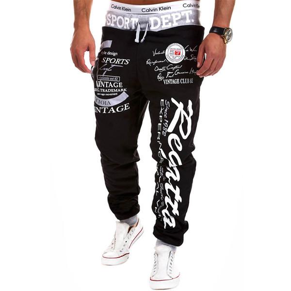 Toptan-Açık Pantolon Sıcak Satış Rahat Erkek Mektup Baskı Baggy Harem Serin Uzun Gevşek Sweatpants Jogger Spor giyim Pantolon Boyutu M-3XL