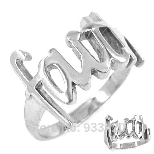 Free shipping! Faith Ring Letters Ring Stainless Steel Jewelry Classic Women Motor Biker Ring Wholesale SWR0199B