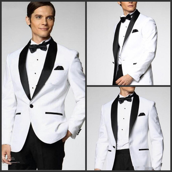 Top Selling White With Black Satin Lapel Groom Tuxedos More Style Choose Groomsmen Men Wedding Suits (Jacket+Pants+Bow Tie)