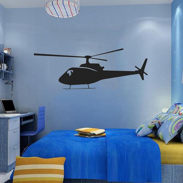 Home Decor Wall Paper Art Vinyl Sticker Helicopter Boy Kids Decal ...