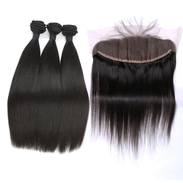 Cheap Ear To Ear Lace Frontal Closure With Bundles Filipino Human Hair Silk Straight Weave 3Pcs With Full Lace Frontal 4Pcs Lot