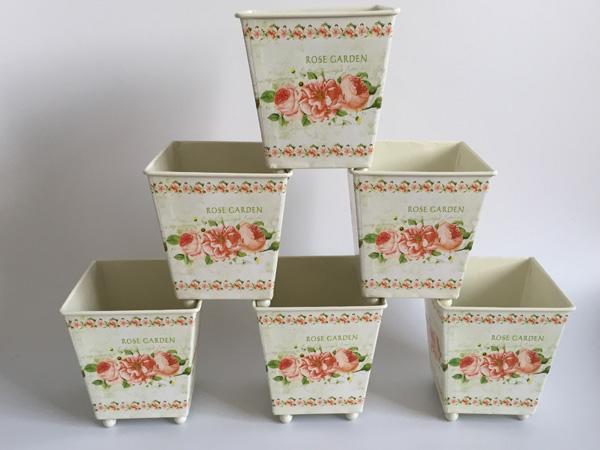 6Pcs Artificial Metal Planter Square Europe Pot dry Flower Pot Tin Vase Wedding Favor Holder Centerpieces