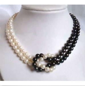"""2016 NEW 8-9 MM BLACK + WHITE AKOYA SOUTH SEA PEARL NECKLACE 18"""" 14K GOLD CLASP"""