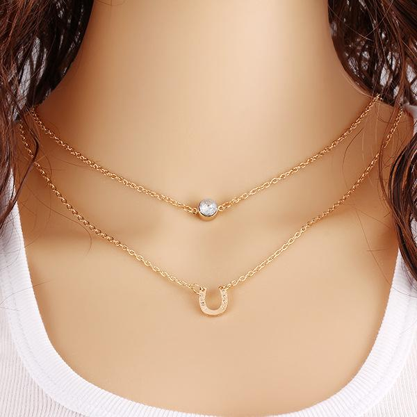 Fashion Crystal Letter U Pendant Necklace Vintage Choker Necklace Gold Plated Double Layers Link Chain Necklace for Women Indian Jewelry