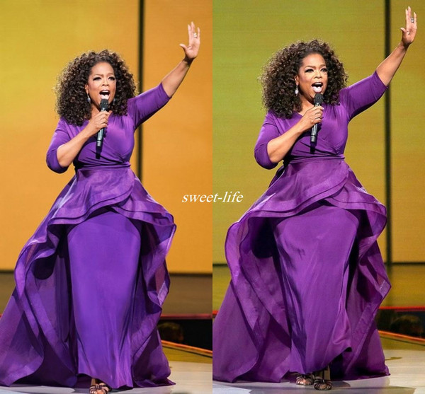 best selling Elegant Oprah Winfrey Celebrity Evening Gowns Overskirt Middle East Dubai Arabic Style Purple with Sleeve Plus Size Women Formal Wear 2019