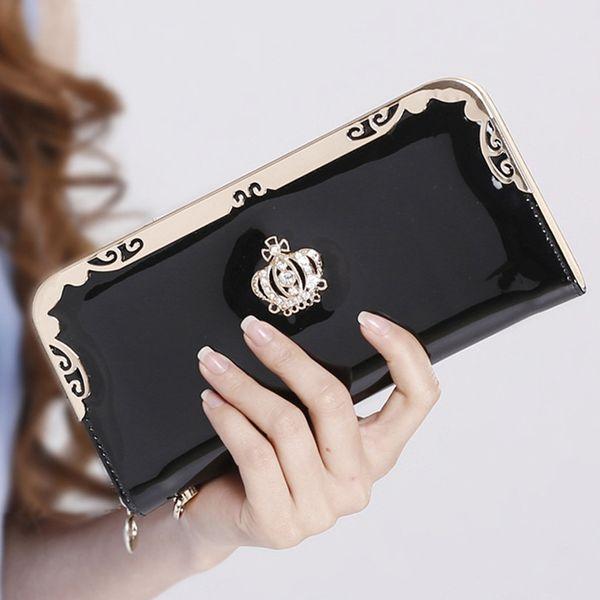 Wholesale- 2016 Brand Women Wallets Fashion Diamond Crown Wallet Long Sweet Lady Purse Female Clutch Wallet