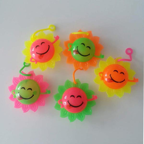 New smiley face, sun flower, luminous toy, fluffy ball, flash jump ball, sunflower sound massage ball