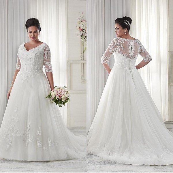 Modest Plus Size Wedding Dresses Sleeves V Neckline Court Train ...
