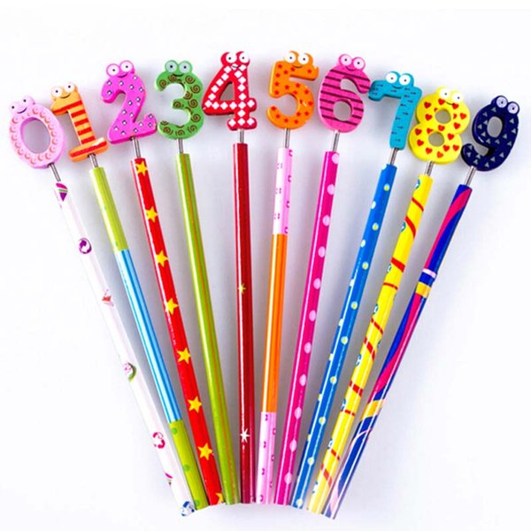 20pcs/lot Writing Painting Standard Pencils With Spring Wooden Cartoon Number Head Cute Prize Gifts Material Escolar Papelaria