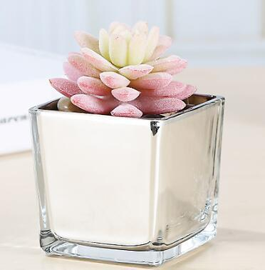 Wholesale 8cm Cube Glass Vase Silver White Black Clear For Wedding