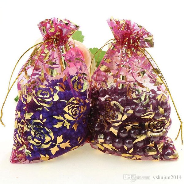 Wholesale 200pcs 9x12cm Christmas Wedding Voile Gift Bag Organza Bag Jewelry Packing Gift Pouch Drawstring Pouch
