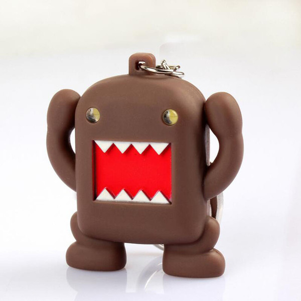 Hot Sale DoMo kun Key Chain Flashlight And Sound Led Keychain Cute Action Figure gift For Lover Handbag Car Keyring