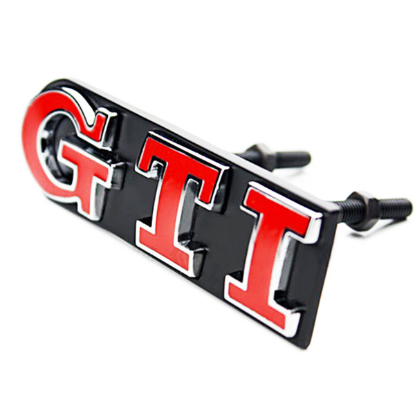 Wholesale 1Set GTI Front Grille Emblem Metal Car Head Grill Badge Sticker for Volkswagen VW Polo Golf 4 Golf 5 Golf 6 Car Styling 2 Colors