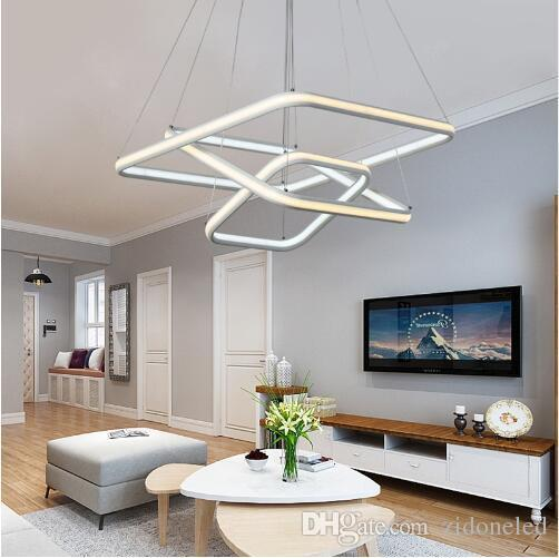 Square double glow led chandeliers modern led pendant lights aluminum white hanging chandelier for dining kitchen room high brightness