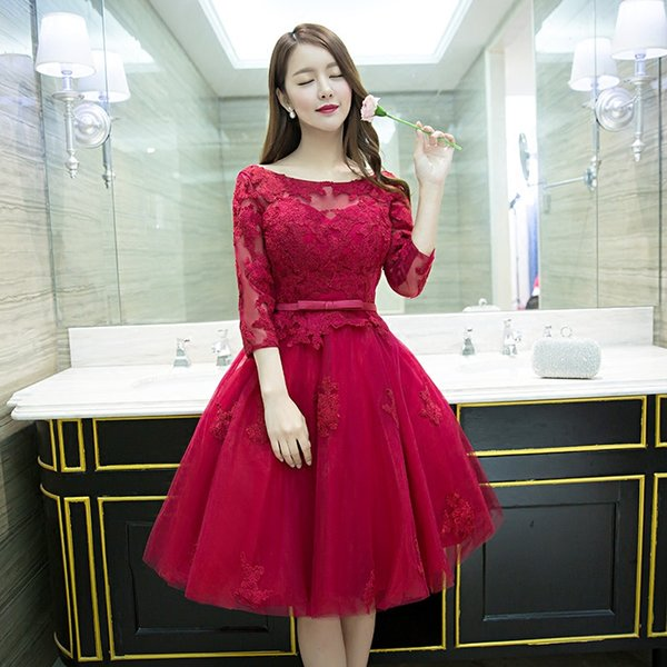 New Fashion Wine Red Lace Cocktail Dresses Sheer 3/4 Long Sleeves ...