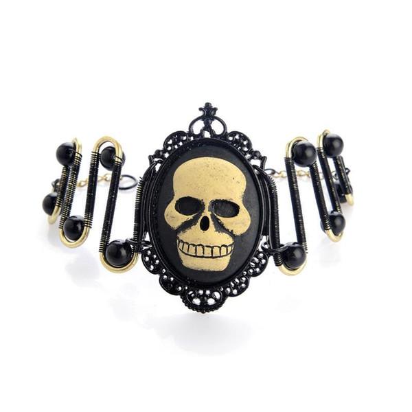 Personality handmade Steampunk bangle Black Pearl skeleton head Bracelet Men's Stainless Steel Bracelets Leather Wrap Bracelets Health