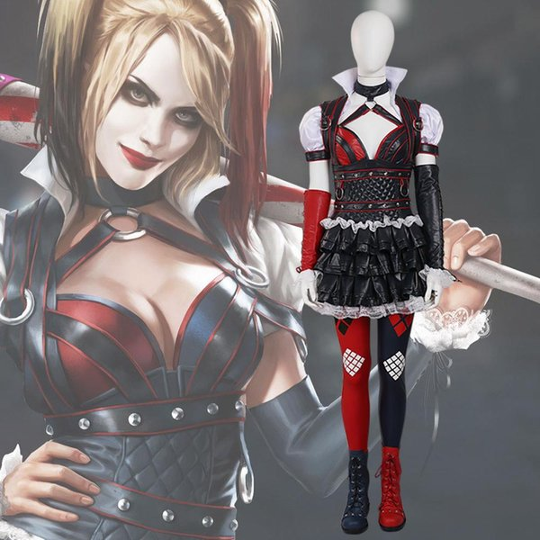 a801656e23e32 Arkham Knight Harley Quinn Cosplay Costume Fancy Dress Christmas Game  Outfit Sexy Clown Suit Adult Women Canada 2019 From Cosplaystore, CAD  $229.42 | ...