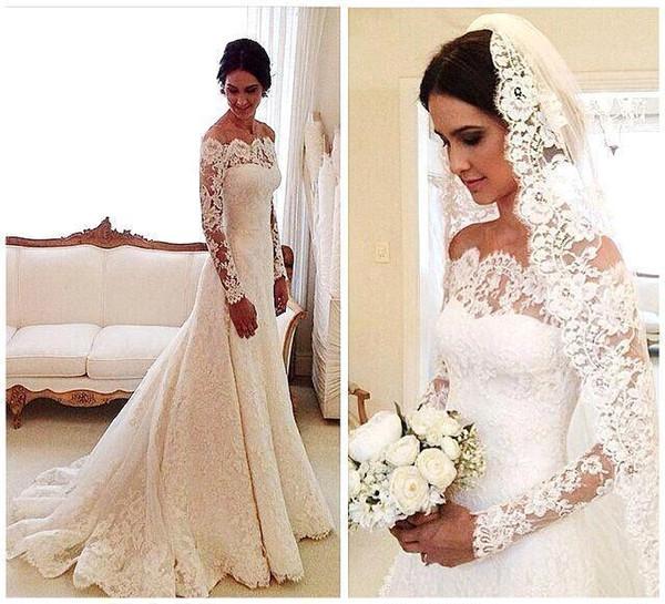 2018 Vestidos De Novia Lace Wedding Dresses Off Shoulder Applique A Line Pleat Long Sleeves Vintage Bridal Gowns With Buttons Back Plus Size