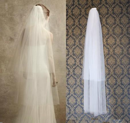 New Style White Ivory Bridal Veil with Comb Free Shipping High Quality Soft Tulle Pure Cut Edge Fingertip Length Two Layer Factory Made