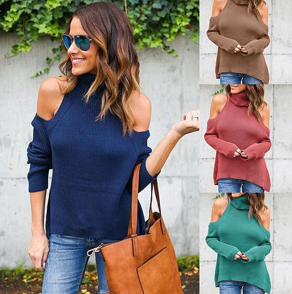New Fashion women High collar sexy Bottoming long sleeve cusual shirt Strapless tops knitting 3 colors 1pc drop shipping