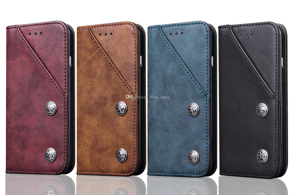 Vintage Slim Folio PU Leather Wallet Cell Phone Case Card Pocket 360 Degree Protection Magnetic Closure for iphone 8 7 plus 6 plus