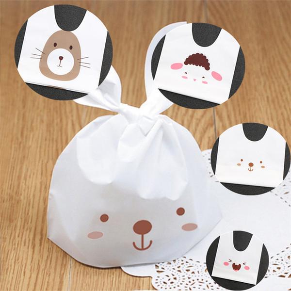 Cute Rabbit Ear Bags Selbstklebende Plastiktüten für Kekse Snack Backpaket Lebensmittelbeutel Party Supplies IB268