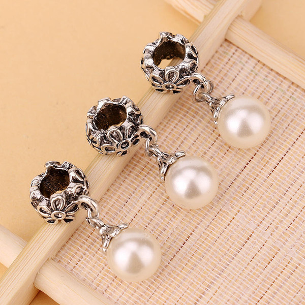 HOT SALE: 100pcs Fake Pearl Pandora Alloy DIY Round Dangle Bead Pendant Fit Charm European Bracelet