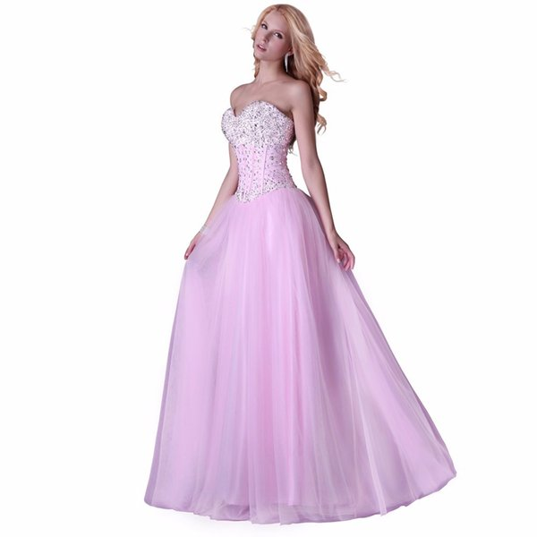 2018 High Quality New Brands Sexy Formal A Line Evening Dresses Pink ...