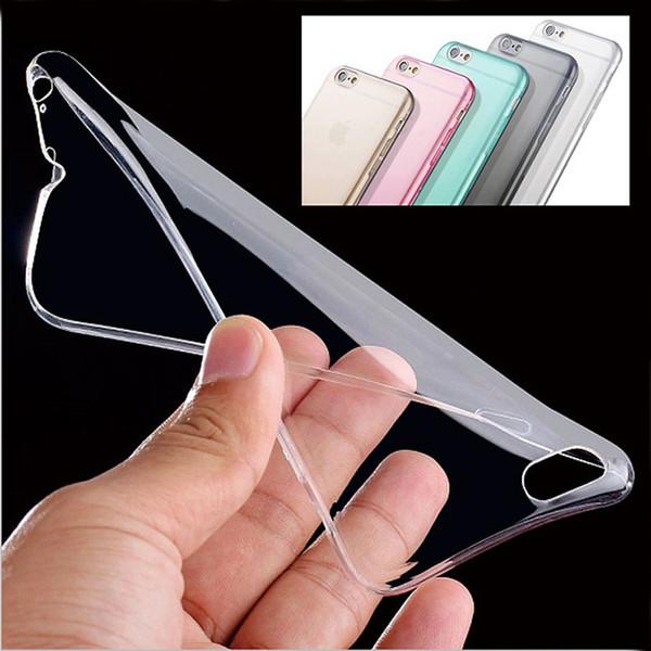 Venta al por mayor-MEJOR PRECIO !! Carcasa de piel de la cubierta del caso de TPU claro ultra delgado para Apple para iPhone 6 6s Protector de espalda de cristal de 4,7 pulgadas