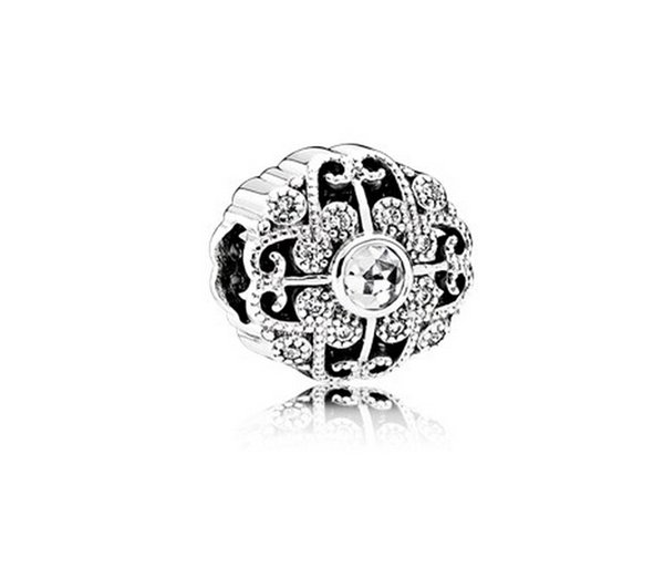 Fits Pandora Bracelets Fairytale Bloom Silver Beads With Clear CZ 2016 New Original 100% 925 Sterling Silver Charms DIY Jewelry wholesale