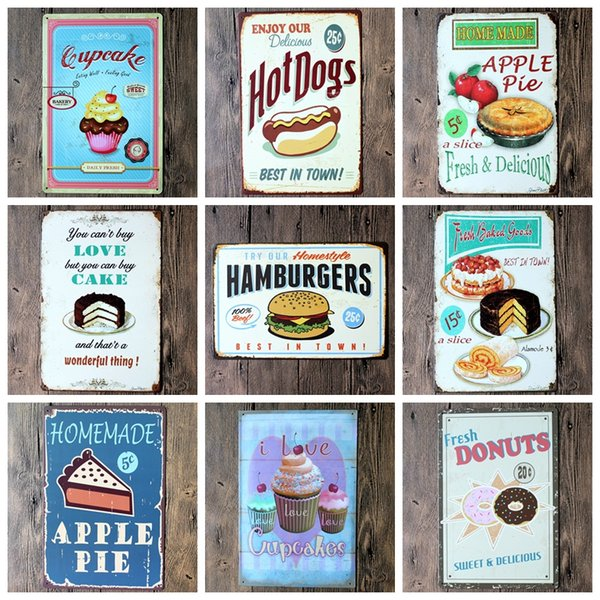 Random delivery 10PCS retro iron painting bundled sale, Tin signs movie poster Art House Cafe Bar wall stickers home decor 20x30 CM