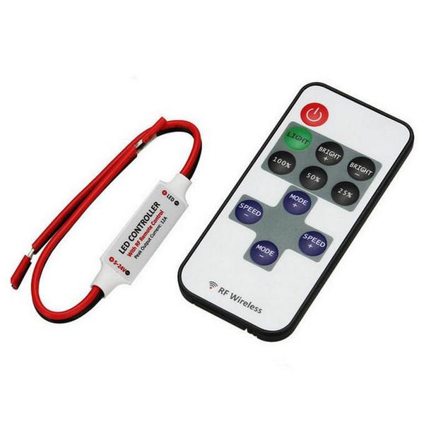 DC 5V-24V RF wireless remote controller 11 key 433Mhz led lighting dimmer for single color LED Strip