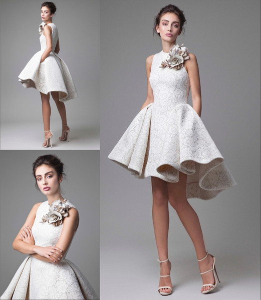 Haute Couture High Low Lovely Lace Short Evening Dress Pleated Ball Gown Skirt For Famous Princess Crew Neck Flower Designer Evening Gowns Australia