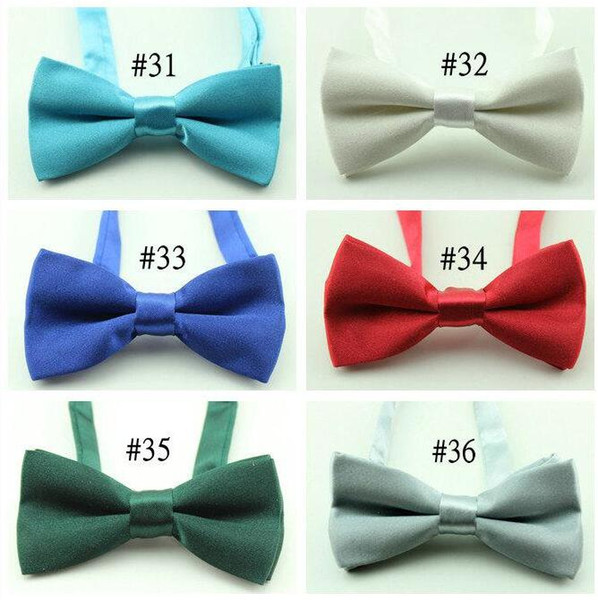 top popular boy's solid color bowtie kid's bowtie chiodren silk pure color bow tie newest arriveal 9*5cm 2020
