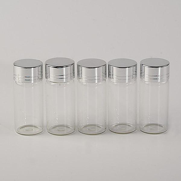 10ml Glass Bottles Screw Cap Silver Aluminium Lid Empty Glass Jars Vials Bottles Sealing up Mason Jars 10ml 100pcs