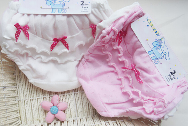 top popular baby girl hot selling 100% cotton underwear girl panties baby girl briefs white and pink color wholesale (2pcs pack) free shipping 2019