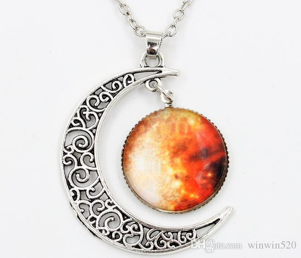 2016 New Vintage starry Moon Outer space Universe Gemstone Pendant Necklaces