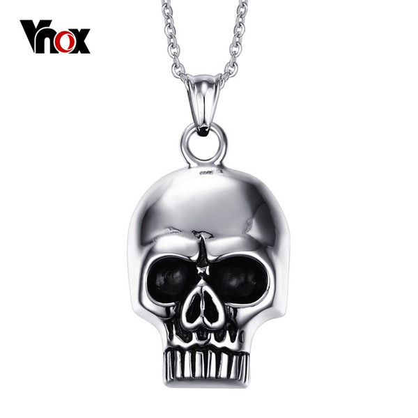 Skull Skeleton Shape Pendants & Necklaces for Men Punk Stainless Steel Pendant Mens Charm Jewelry Free 20 inch Chain