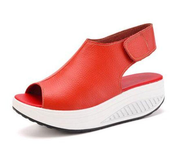 3c0a005c9b4 Solid Swing Platform Women Sandals Lady'S Wedges Sandals Summer Genuine  Leather Platform Shoes / Red / Black / Brown Sandals Womens Sandals  Orthopedic ...