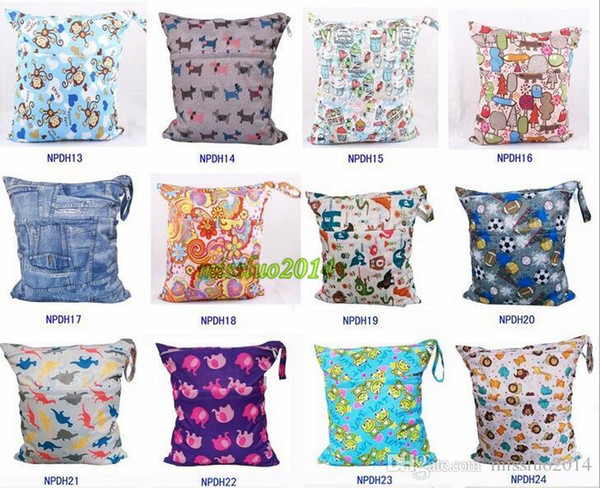 DHL FREE NEW baby printed Wet Dry zipper diaper bag Infant Leopad Pockets Diapers Nappy Bags Reusable Cloth Diaper Wet Bag 200Pcs