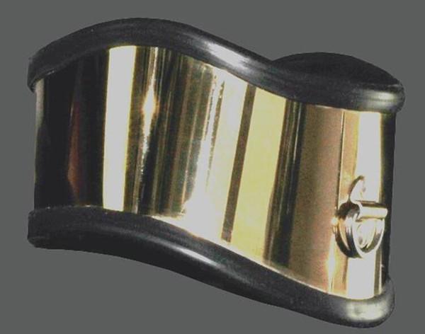Lujo Titanio Oro Collar de cuello Collar de metal Acero inoxidable Restricción Postura Collar Bondage Adulto BDSM Juegos Sexuales Juguete Para Hombre Mujer
