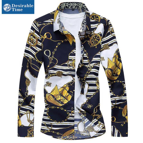 Camisa de la impresión floral del oro al por mayor para hombre más el tamaño 6XL 7XL 2016 Collar de la vuelta floral del estilo chino Camisas ocasionales azules marino DT192