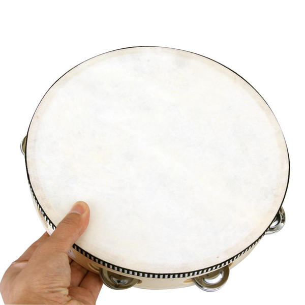 "top popular Wholesale-10"" Musical Tambourine Tamborine Drum Round Percussion Gift for KTV Party drumhead 2020"