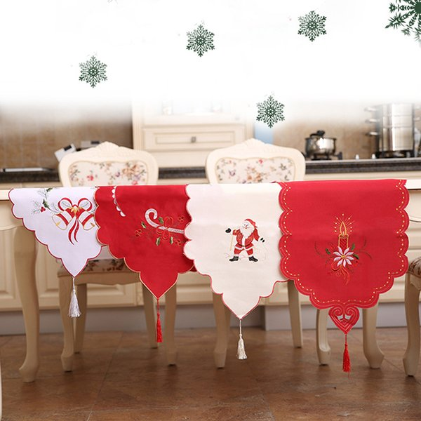 best selling Satin Table Runner Table Mat for Christmas Wedding Holiday Decor Favor Elegant Tablecloth 40*170cm Christmas Dinner Table Décor