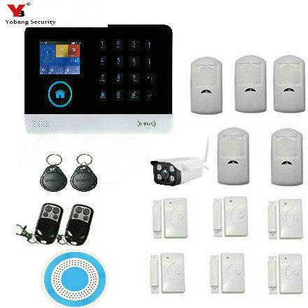 Wholesale- YobangSecurity Wireless Wifi Gsm Home Security Alarm System Kit with Outdoor IP Camera Wireless Siren PIR Motion Door Sensor