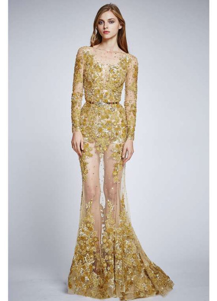 2017 Newest Sheer Gold Tulle Lace Applique Long Sleeve Crew Sexy Mermaid Prom Dresses Long Evening Dresses Zuhair Murad