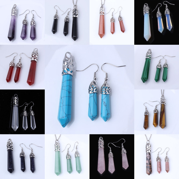 top popular Wholesale 10Sets High Quality Silver Plated Mixed Order Quartz Stone Hexagon Column Pendant Dangle Earring Charm Jewelry 2020