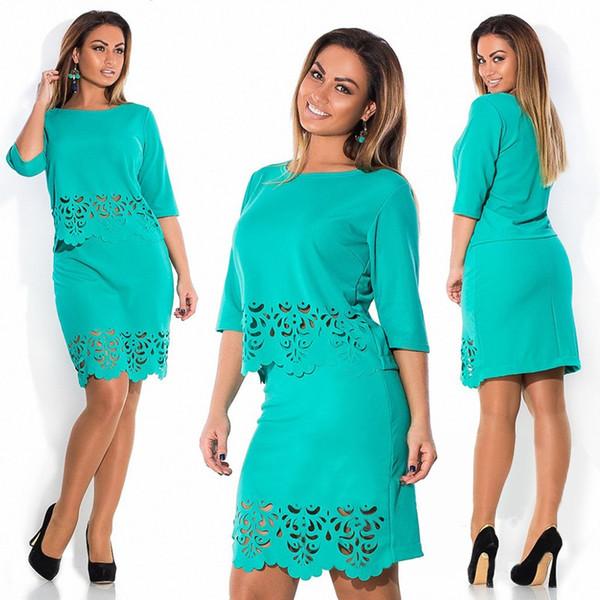 Elegant Sexy 2 piece set summer women dresses big size 2016 plus size women clothing Hollow Out L-6xl dress casual o-neck bodycon Dress