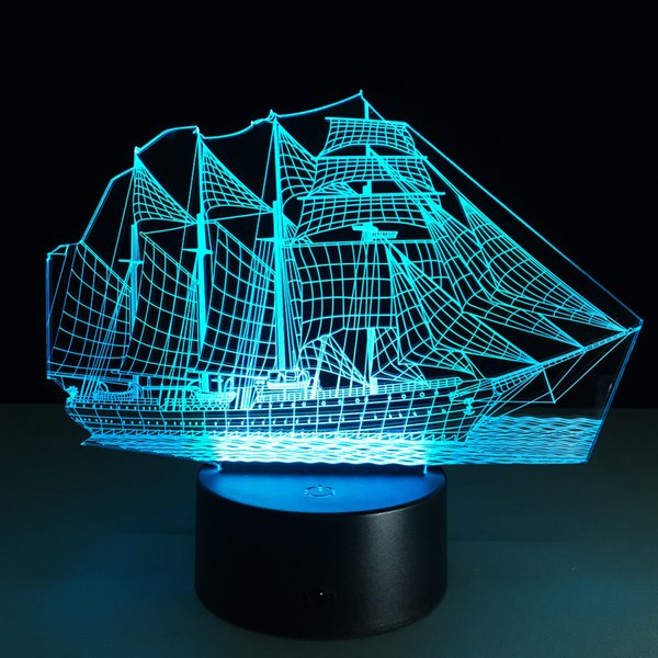 top popular Hot 3D Boat Illusion Lamp 3D LED Light 7 RGB Lights DC 5V USB Powered 5th Battery Powered Wholesale Drop Shipping Special Offer 2020